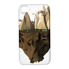 Low Poly Floating Island 3d Render Apple Iphone 4/4s Hardshell Case With Stand