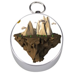 Low Poly Floating Island 3d Render Silver Compasses