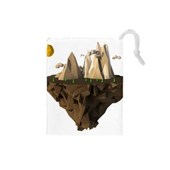 Low Poly Floating Island 3d Render Drawstring Pouches (small)