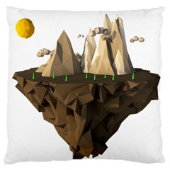Low Poly Floating Island 3d Render Large Flano Cushion Case (one Side)