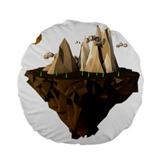 Low Poly Floating Island 3d Render Standard 15  Premium Flano Round Cushions