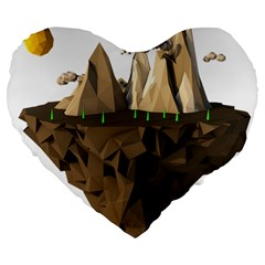 Low Poly Floating Island 3d Render Large 19  Premium Flano Heart Shape Cushions
