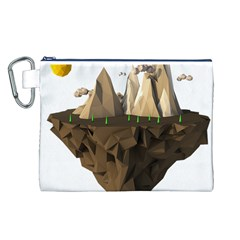 Low Poly Floating Island 3d Render Canvas Cosmetic Bag (l)