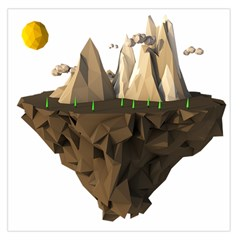 Low Poly Floating Island 3d Render Large Satin Scarf (square)