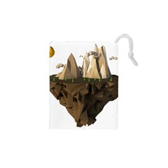 Low Poly Floating Island 3d Render Drawstring Pouches (xs)