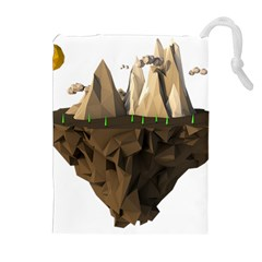 Low Poly Floating Island 3d Render Drawstring Pouches (extra Large)