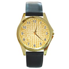 Pattern Abstract Background Round Gold Metal Watch