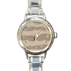 Pattern Wave Beige Brown Round Italian Charm Watch