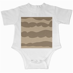 Pattern Wave Beige Brown Infant Creepers