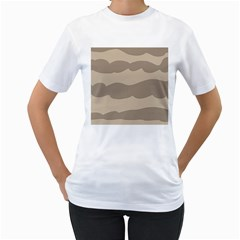 Pattern Wave Beige Brown Women s T Shirt (white) (two Sided)