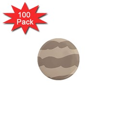 Pattern Wave Beige Brown 1  Mini Magnets (100 Pack)