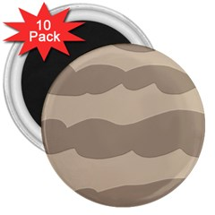 Pattern Wave Beige Brown 3  Magnets (10 pack)