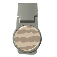 Pattern Wave Beige Brown Money Clips (round)