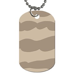 Pattern Wave Beige Brown Dog Tag (two Sides)