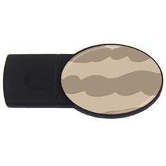 Pattern Wave Beige Brown Usb Flash Drive Oval (2 Gb)