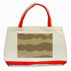 Pattern Wave Beige Brown Classic Tote Bag (red)