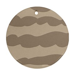 Pattern Wave Beige Brown Round Ornament (two Sides)