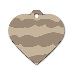 Pattern Wave Beige Brown Dog Tag Heart (two Sides)