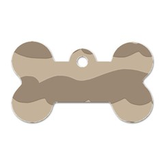 Pattern Wave Beige Brown Dog Tag Bone (Two Sides)