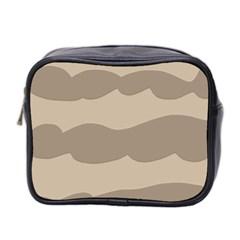 Pattern Wave Beige Brown Mini Toiletries Bag 2 Side