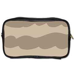 Pattern Wave Beige Brown Toiletries Bags 2 Side