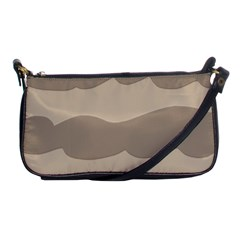Pattern Wave Beige Brown Shoulder Clutch Bags