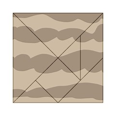 Pattern Wave Beige Brown Acrylic Tangram Puzzle (6  X 6 )
