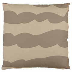 Pattern Wave Beige Brown Large Cushion Case (one Side)