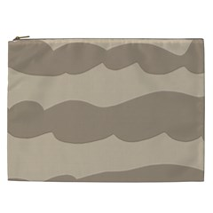 Pattern Wave Beige Brown Cosmetic Bag (xxl)