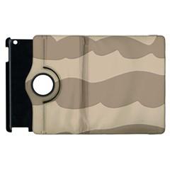 Pattern Wave Beige Brown Apple Ipad 2 Flip 360 Case