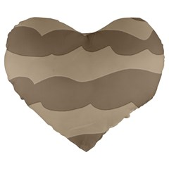 Pattern Wave Beige Brown Large 19  Premium Heart Shape Cushions