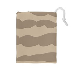 Pattern Wave Beige Brown Drawstring Pouches (large)