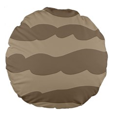 Pattern Wave Beige Brown Large 18  Premium Flano Round Cushions