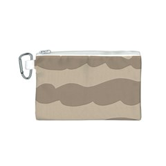 Pattern Wave Beige Brown Canvas Cosmetic Bag (s)