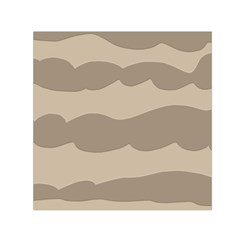 Pattern Wave Beige Brown Small Satin Scarf (square)