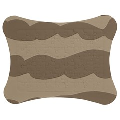 Pattern Wave Beige Brown Jigsaw Puzzle Photo Stand (bow)