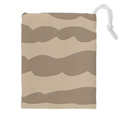 Pattern Wave Beige Brown Drawstring Pouches (xxl)