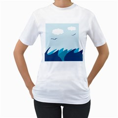 Sea Women s T Shirt (white) (two Sided)