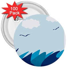 Sea 3  Buttons (100 pack)