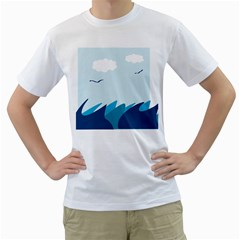 Sea Men s T Shirt (white) (two Sided)