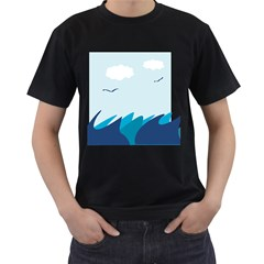 Sea Men s T Shirt (black) (two Sided)