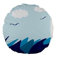 Sea Large 18  Premium Round Cushions