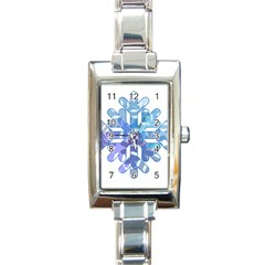 Snowflake Blue Snow Snowfall Rectangle Italian Charm Watch