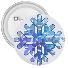 Snowflake Blue Snow Snowfall 3  Buttons