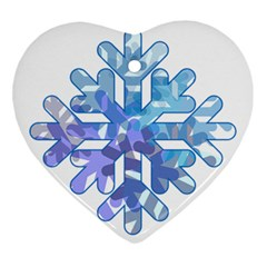 Snowflake Blue Snow Snowfall Ornament (heart)