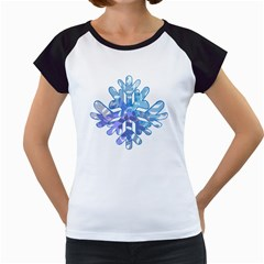 Snowflake Blue Snow Snowfall Women s Cap Sleeve T