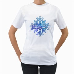 Snowflake Blue Snow Snowfall Women s T Shirt (white) (two Sided)