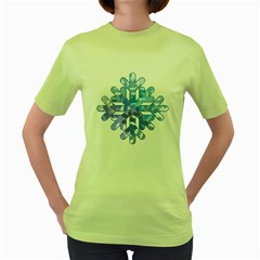 Snowflake Blue Snow Snowfall Women s Green T-Shirt