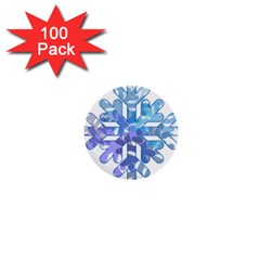 Snowflake Blue Snow Snowfall 1  Mini Buttons (100 Pack)