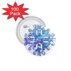 Snowflake Blue Snow Snowfall 1.75  Buttons (100 pack)